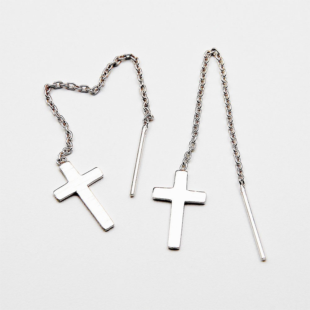 Pair of silver cross pull through earrings. - Ozz Silver Jewelry