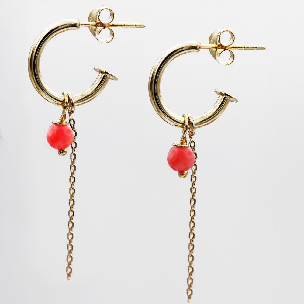 Pair of gold plated silver J-hoop earrings with Agate Gemstone and chain detail. - Ozz Silver Jewelry