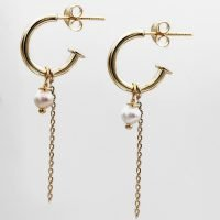 This pack includes 3 pairs of 18K gold plated silver earrings: dainty moon outline earrings, 12mm Bali hoop earrings, and J-hoops with an authentic pearl and hanging chain detail. Together, they make for an ultra-feminine collection in gold, beautiful individually and combined. - Ozz Silver Jewelry
