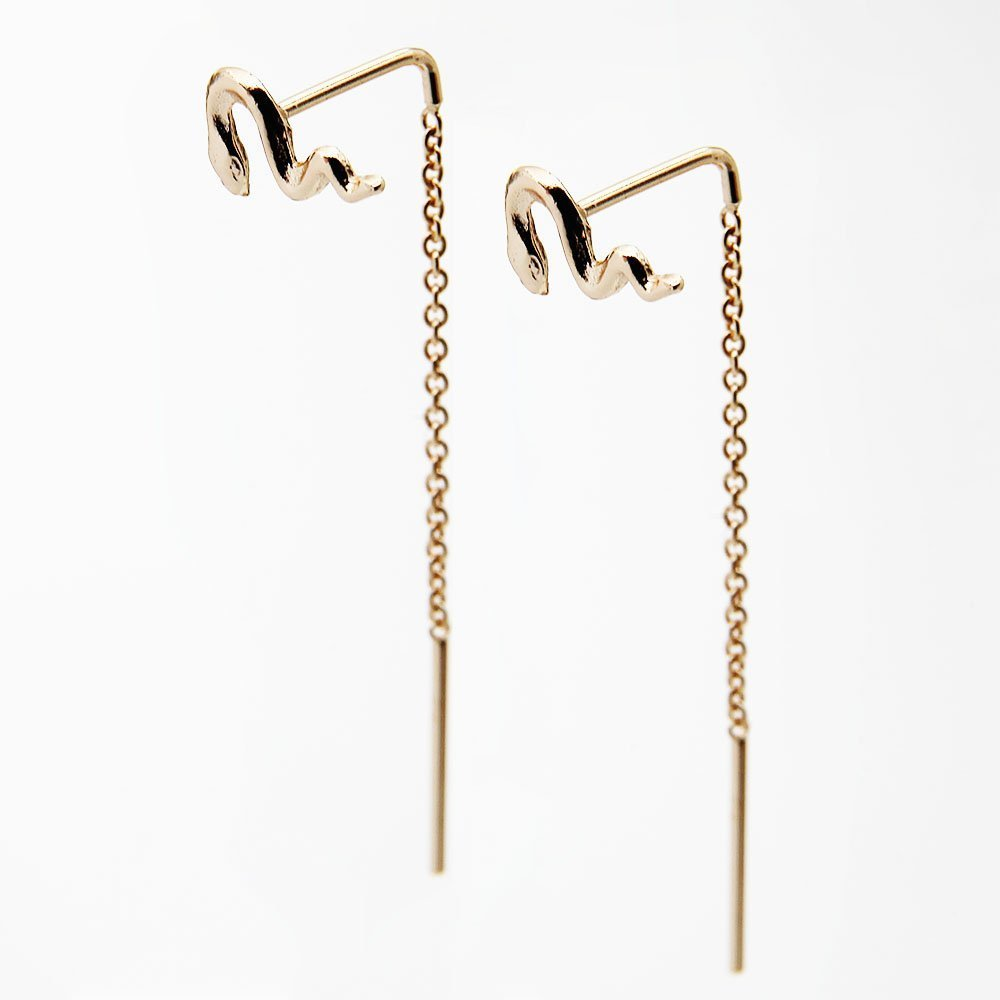 Pair of gold plated silver snake pull through earrings with drop back. - Ozz Silver Jewelry