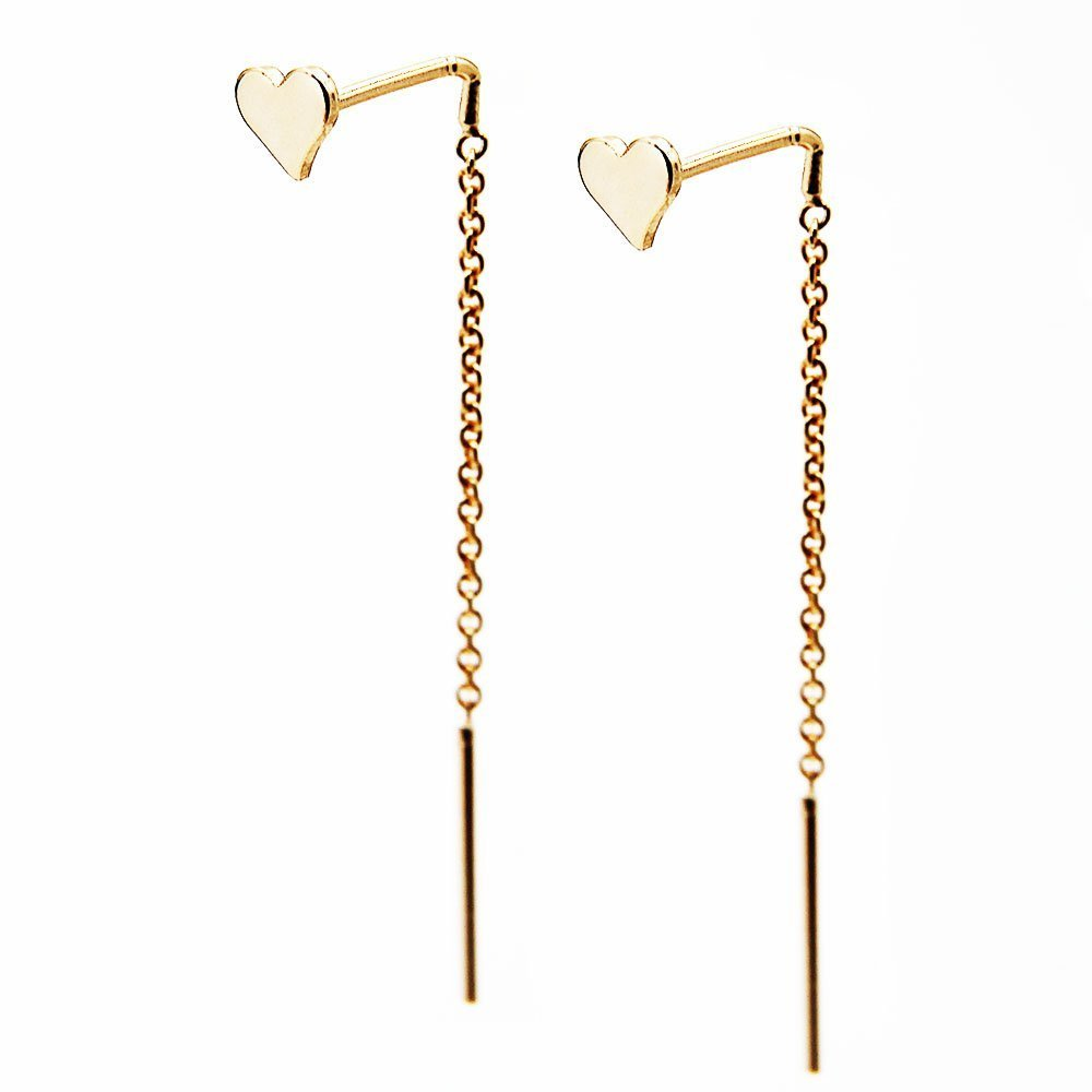 Pair of gold plated silver heart pull through earrings with drop back. - Ozz Silver Jewelry