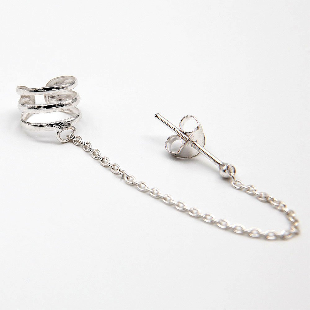 Single silver ear cuff with a stud earring and chain detail. - Ozz Silver Jewelry
