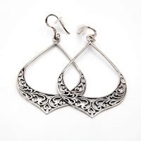 A pair of silver hook earrings with an embellished drop design. - Ozz Silver Jewelry