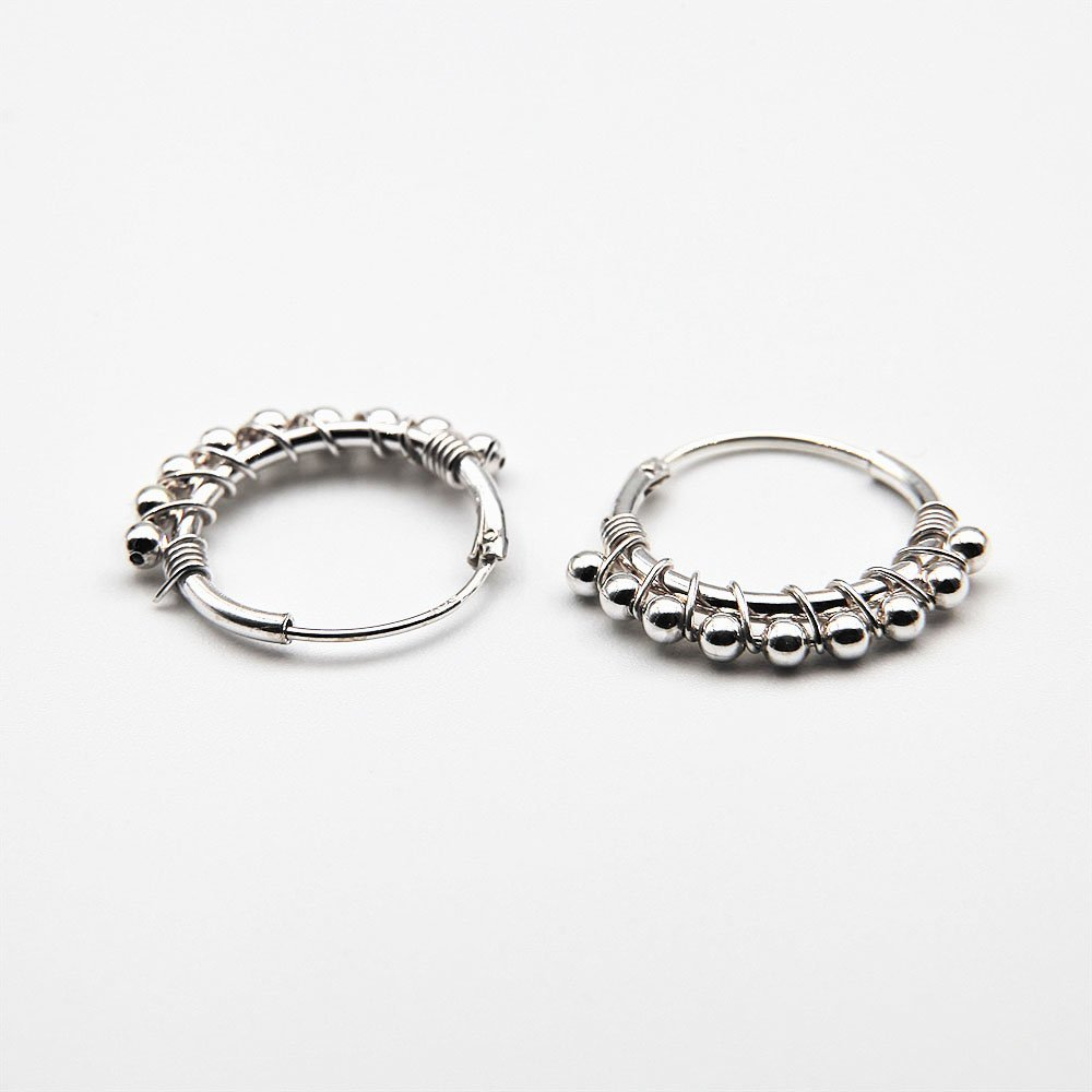 Pair of silver tambourine hoop earrings with 9 beads. - Ozz Silver Jewelry