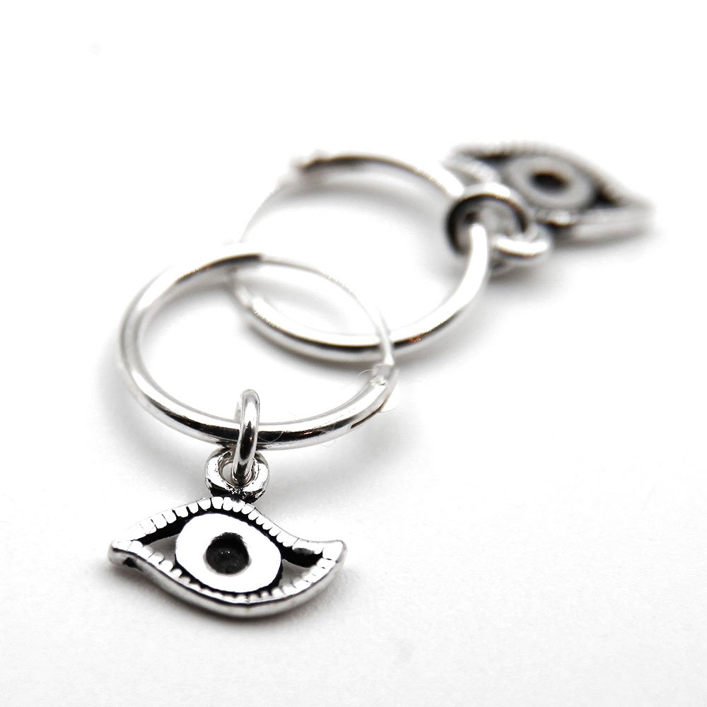 Pair of silver hoop earrings with All Seeing Eye charm. - Ozz Silver Jewelry