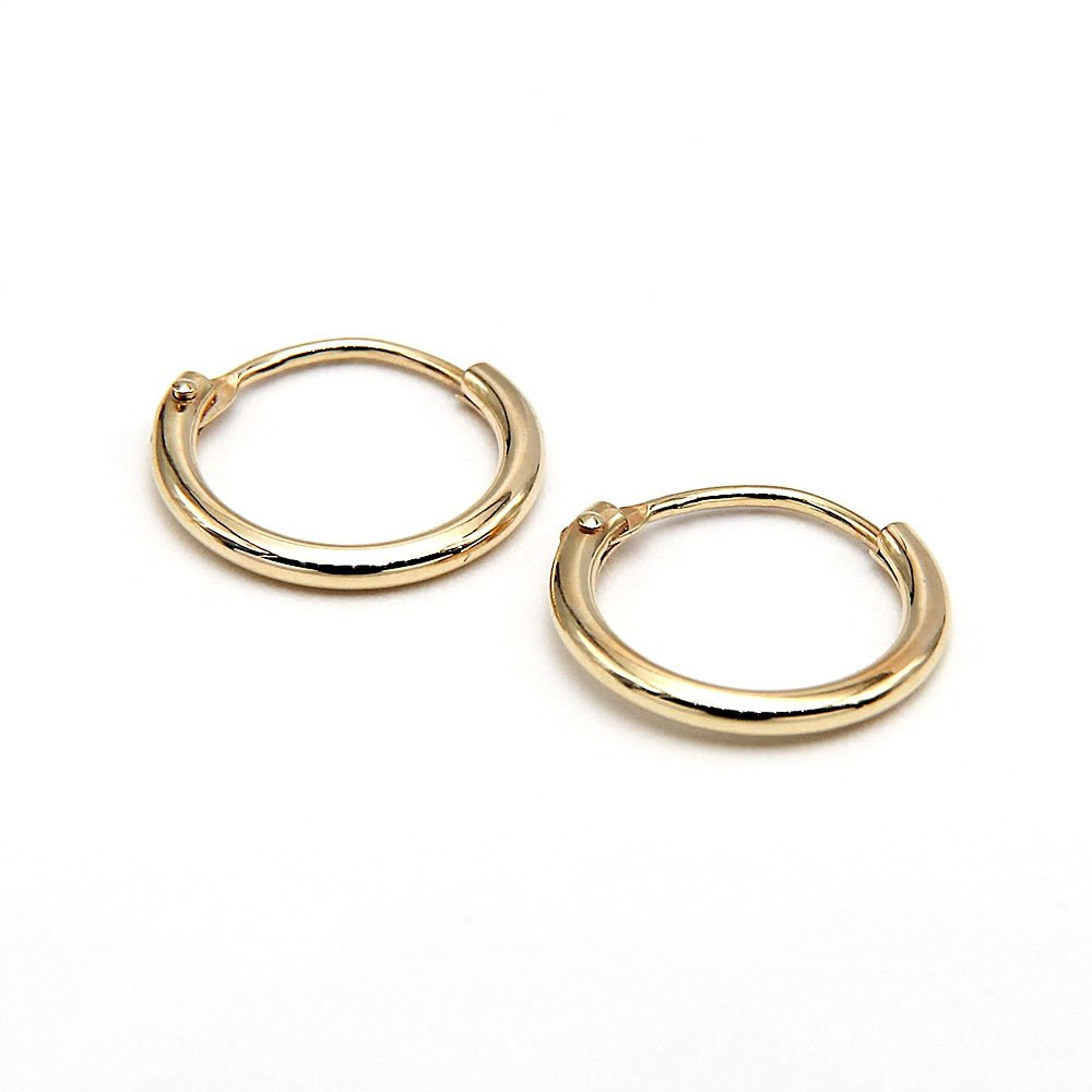 Pair of 14 Karat gold hoop earrings with extra fine design. - Ozz Silver Jewelry