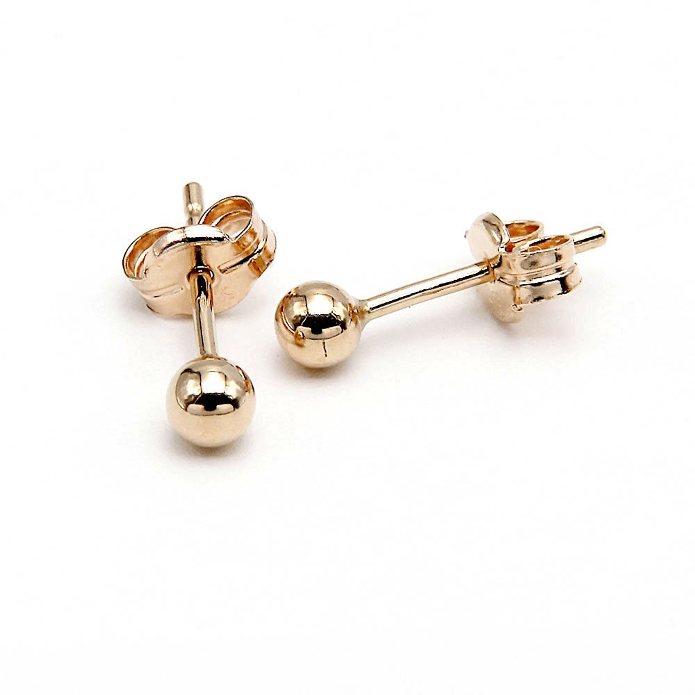 Pair of 14 Karat gold stud earrings with a 3mm ball detail and butterfly backing. - Ozz Silver Jewelry