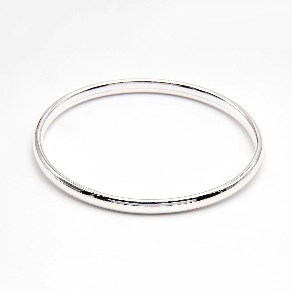 Smooth 5mm silver bangle bracelet with a cap closure. - Ozz Silver Jewelry