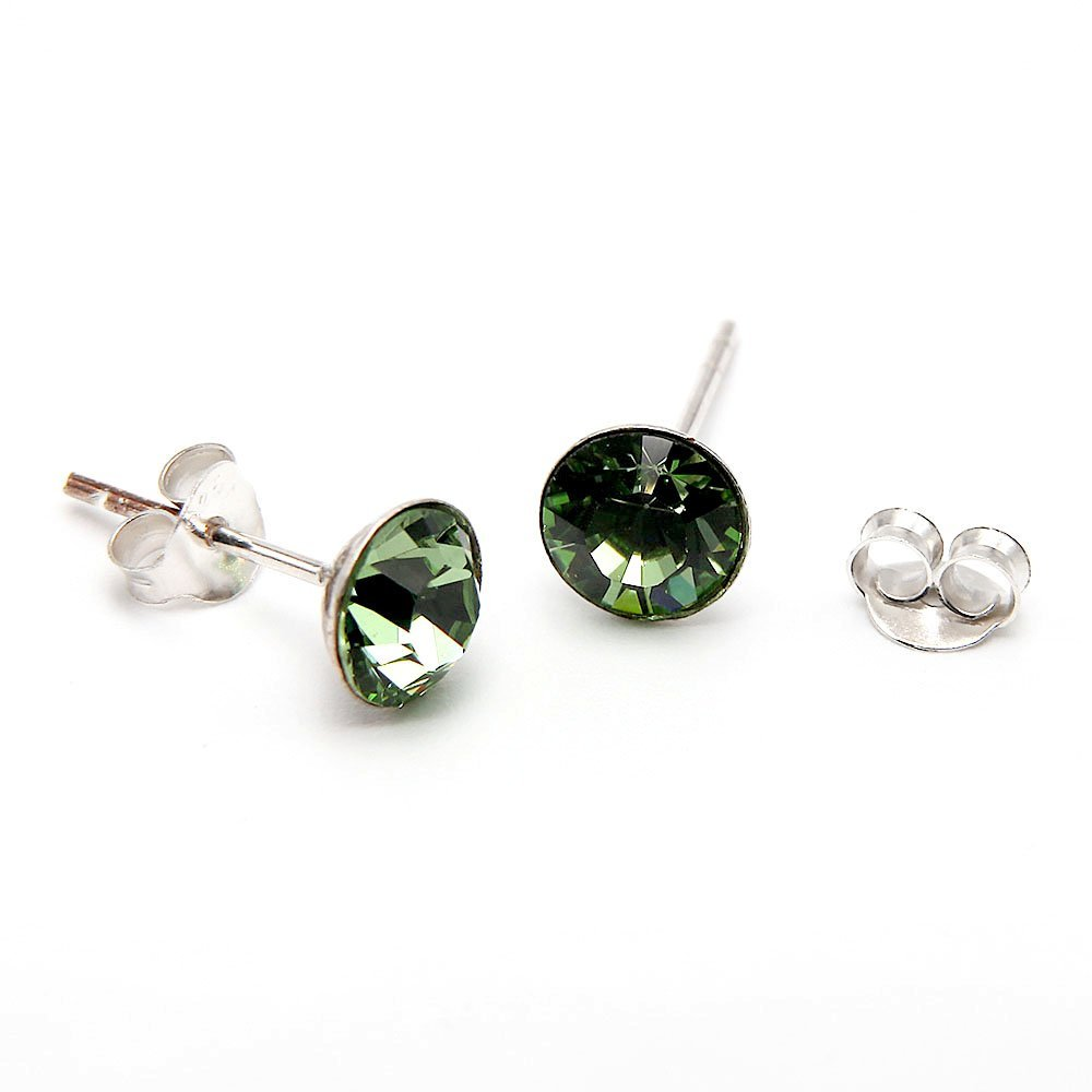 Pair of silver stud earrings with a brilliant apple green crystal. Contains Swarovski elements. - Ozz Silver Jewelry