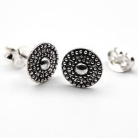 This pack includes 3 pairs of sterling silver earrings: 3mm stud earrings, shield studs with decorative Balinese ornaments, and Hamsa Hoop earrings with a hidden hinge, making them especially easy to take on and off. - Ozz Silver Jewelry