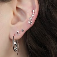 A single silver ear climber with a constellation of 3 stars and stardust detail. - Ozz Silver Jewelry