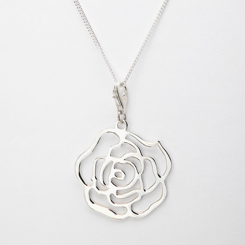 A silver necklace with an openwork rose pendant and adjustable ring clasp. - Ozz Silver Jewelry