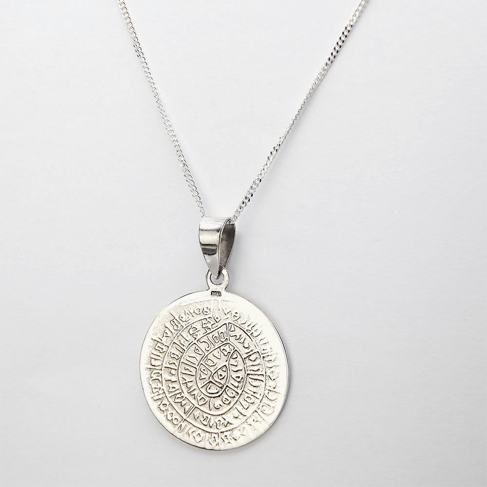 A silver necklace with a Phaistos Disc pendant and adjustable ring clasp. - Ozz Silver Jewelry