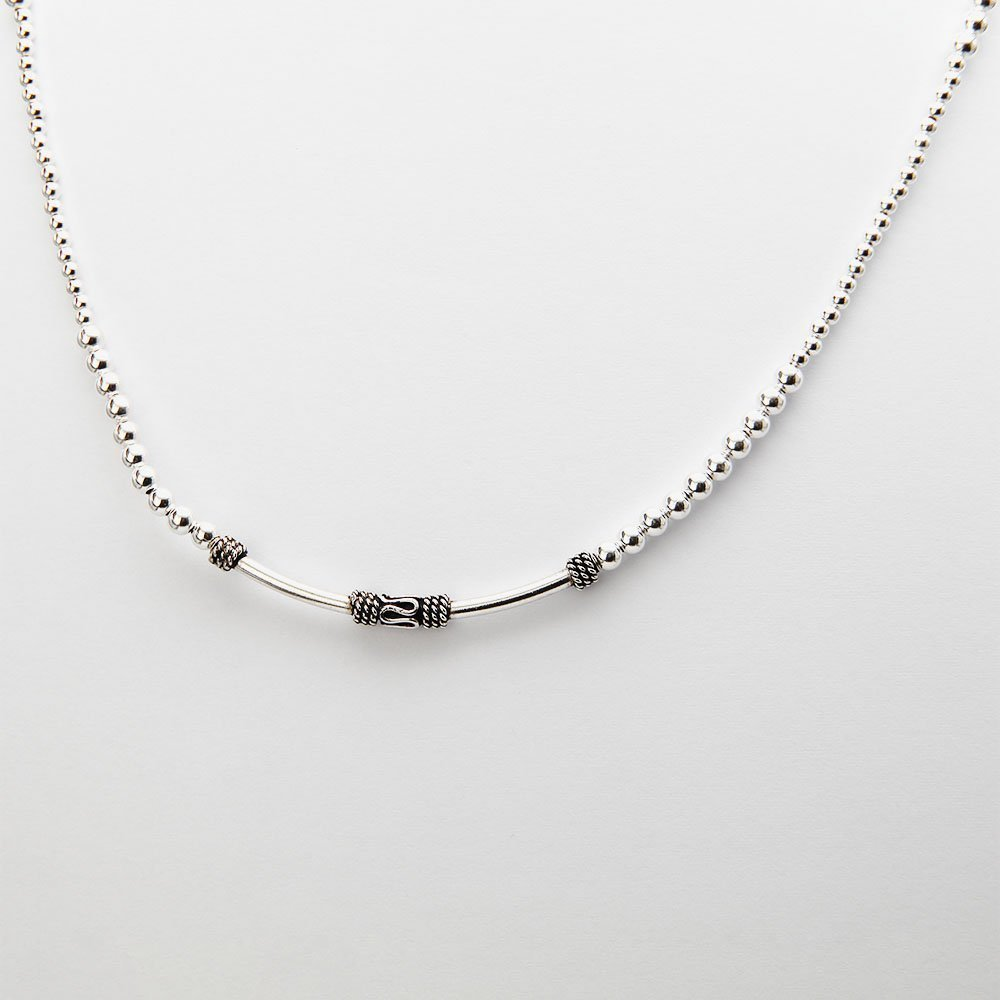 A beaded silver necklace with a snake bead and an adjustable ring clasp. - Ozz Silver Jewelry