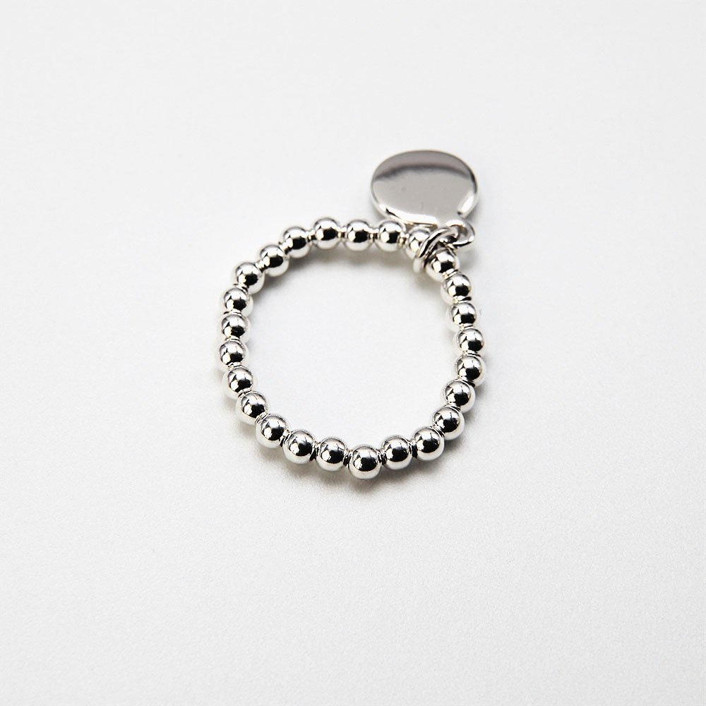 """Handcrafted Bali style ring with real silver beads and coin charm. <a href=""""http://www.ozz-jewelry.com/size-guides/"""" target=""""_blank"""" rel=""""noopener noreferrer"""">See size guide.</a> - Ozz Silver Jewelry"""