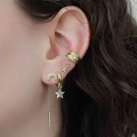 A single gold plated silver ear cuff with a rope detail. - Ozz Silver Jewelry