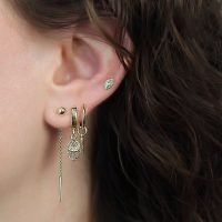 Pair of gold plated silver hoop earrings with Shark Tooth charm. - Ozz Silver Jewelry