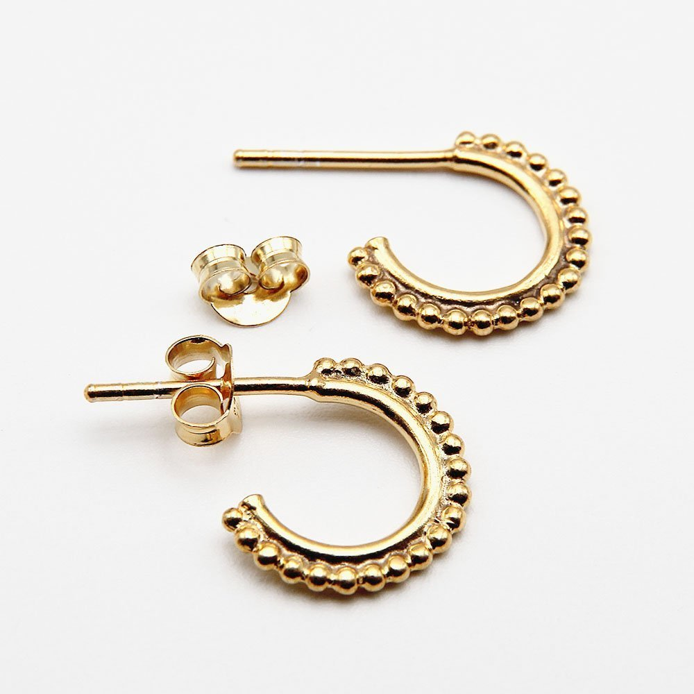 A pair of gold plated silver J-hoop earrings with a beaded bali design and butterfly backing. - Ozz Silver Jewelry