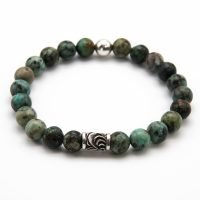 This OZZ bracelet for men features 8mm African Turquoise Jasper stones, and two sterling silver beads. - Ozz Silver Jewelry