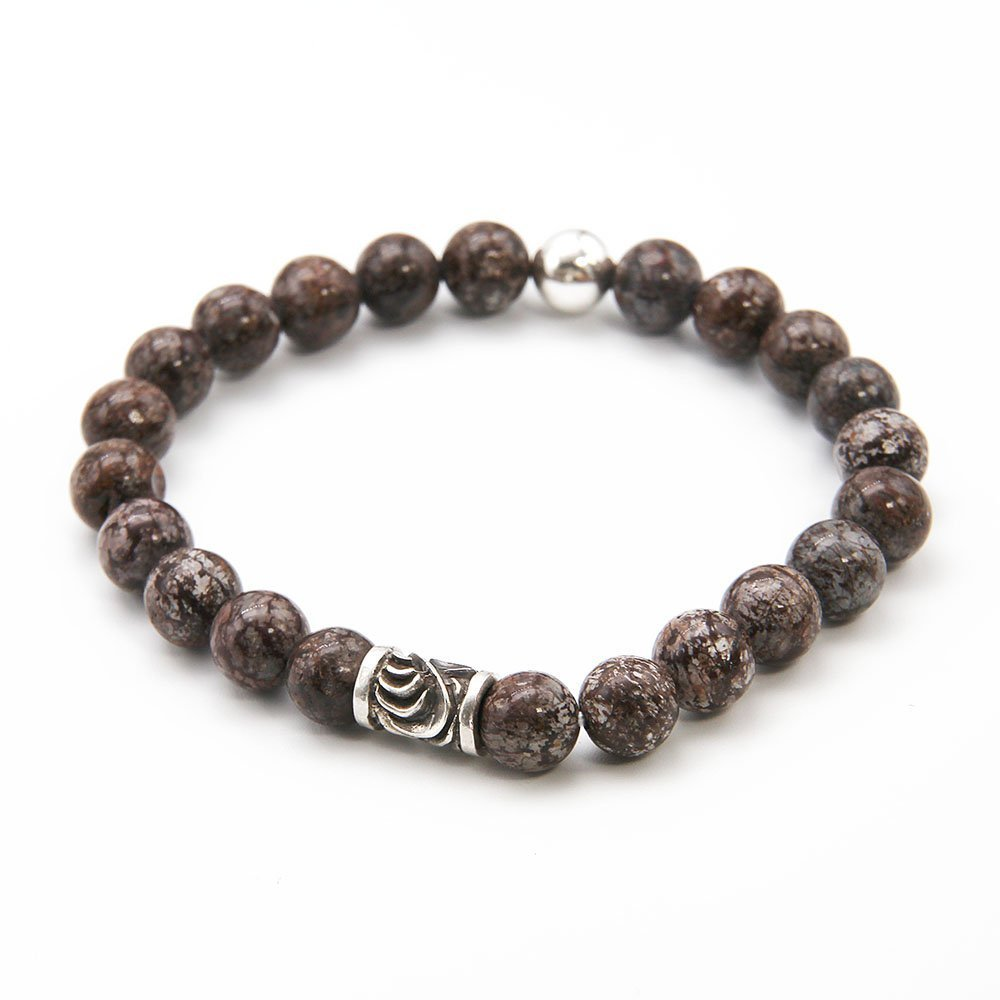 This OZZ bracelet for men features 8mm Alabaster Jasper stones, and two sterling silver beads. - Ozz Silver Jewelry