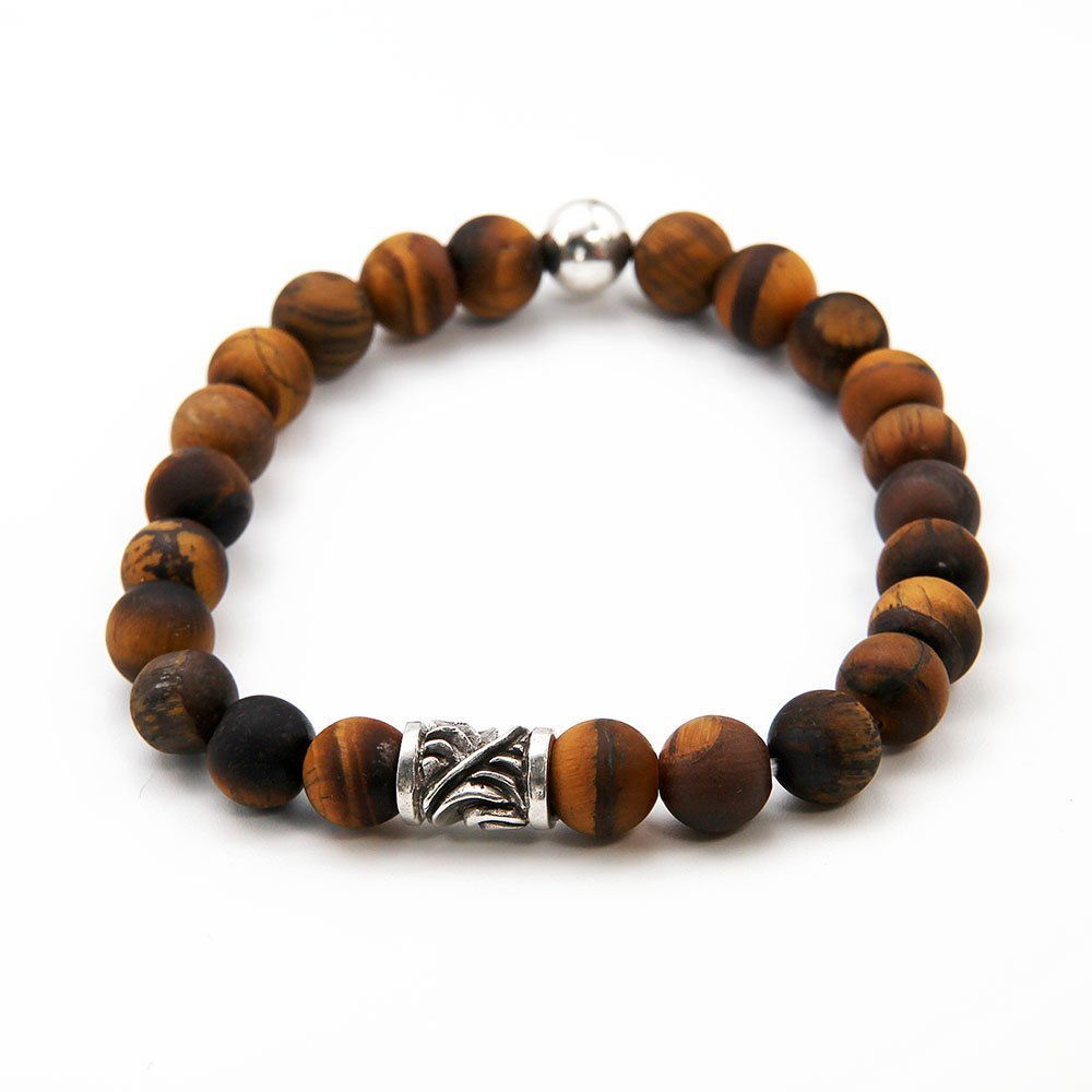 This OZZ bracelet for men features 8mm Tiger's Eye stones, and two sterling silver beads. - Ozz Silver Jewelry