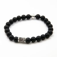 This OZZ bracelet for men features 8mm Onyx stones, and two sterling silver beads. - Ozz Silver Jewelry