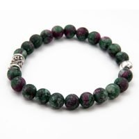 This OZZ bracelet for men features 8mm Ruby-in-Zoisite stones, and two sterling silver beads. - Ozz Silver Jewelry