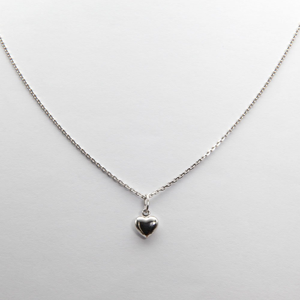 Sterling silver necklace with hanging heart charm. - Ozz Silver Jewelry
