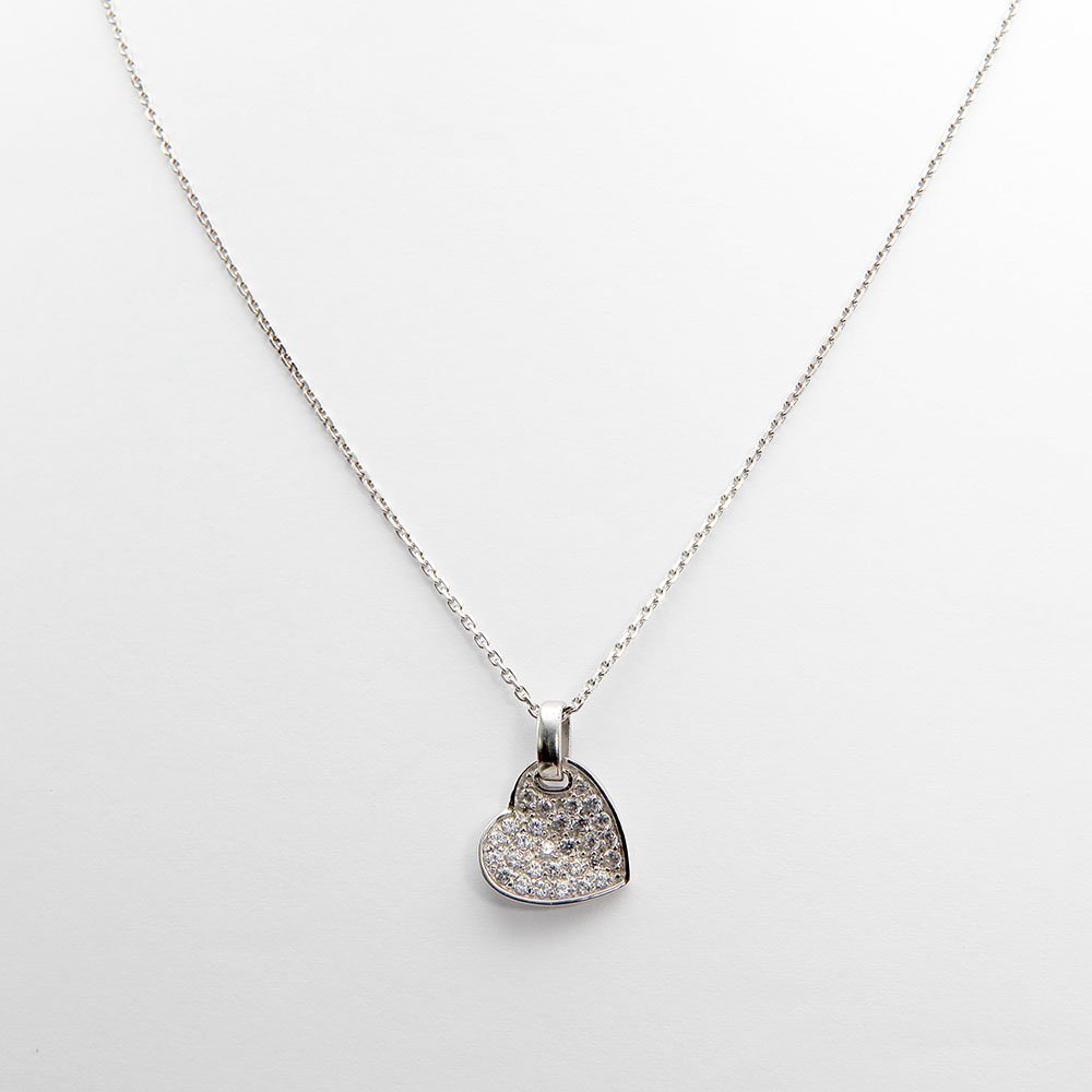 This necklace features a sterling silver heart pendant, with all-over Swarovski elements. - Ozz Silver Jewelry