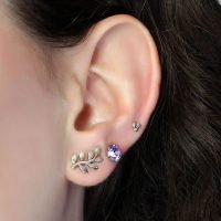 This pack includes 3 pairs of sterling silver earrings: Billiard stud earrings, 6mm lavender crystal studs (Swarovski elements), and Rhodium-dipped leaf studs which will never tarnish. - Ozz Silver Jewelry