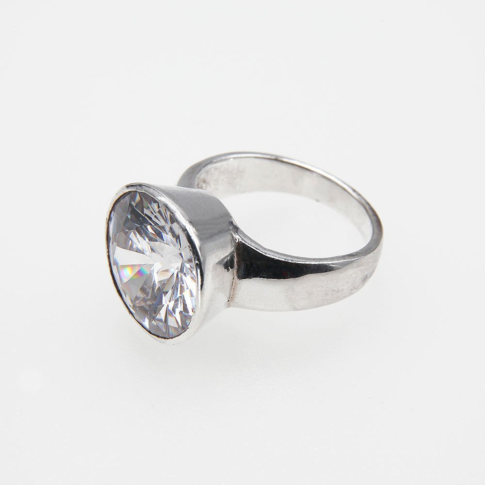 """Sterling silver ring with an oversized cubic zirconia crystal, set inside a silver pocket. <a href=""""https://www.ozz-jewelry.com/size-guides/"""" target=""""_blank"""" rel=""""noopener noreferrer"""">See size guide</a>. - Ozz Silver Jewelry"""