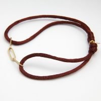 Adjustable satin rope bracelet in maroon, with stainless steel chain detail with a gold finish. - Ozz Silver Jewelry