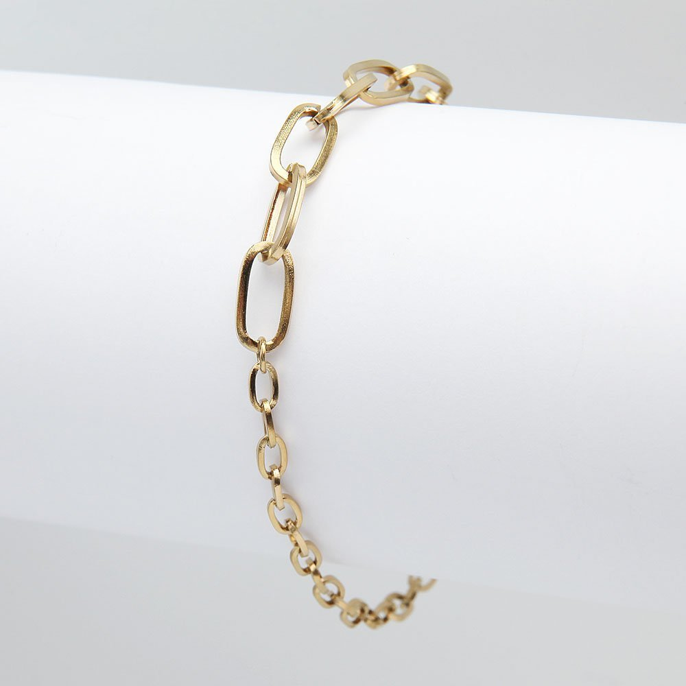 Stainless steel bracelet in a gold finish, with two types of chain links and an adjustable ring clasp. - Ozz Silver Jewelry
