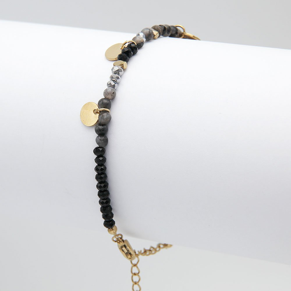 Stainless steel chain bracelet with dark midnight glass beads, coin charms in a gold finish, and an adjustable ring clasp. - Ozz Silver Jewelry