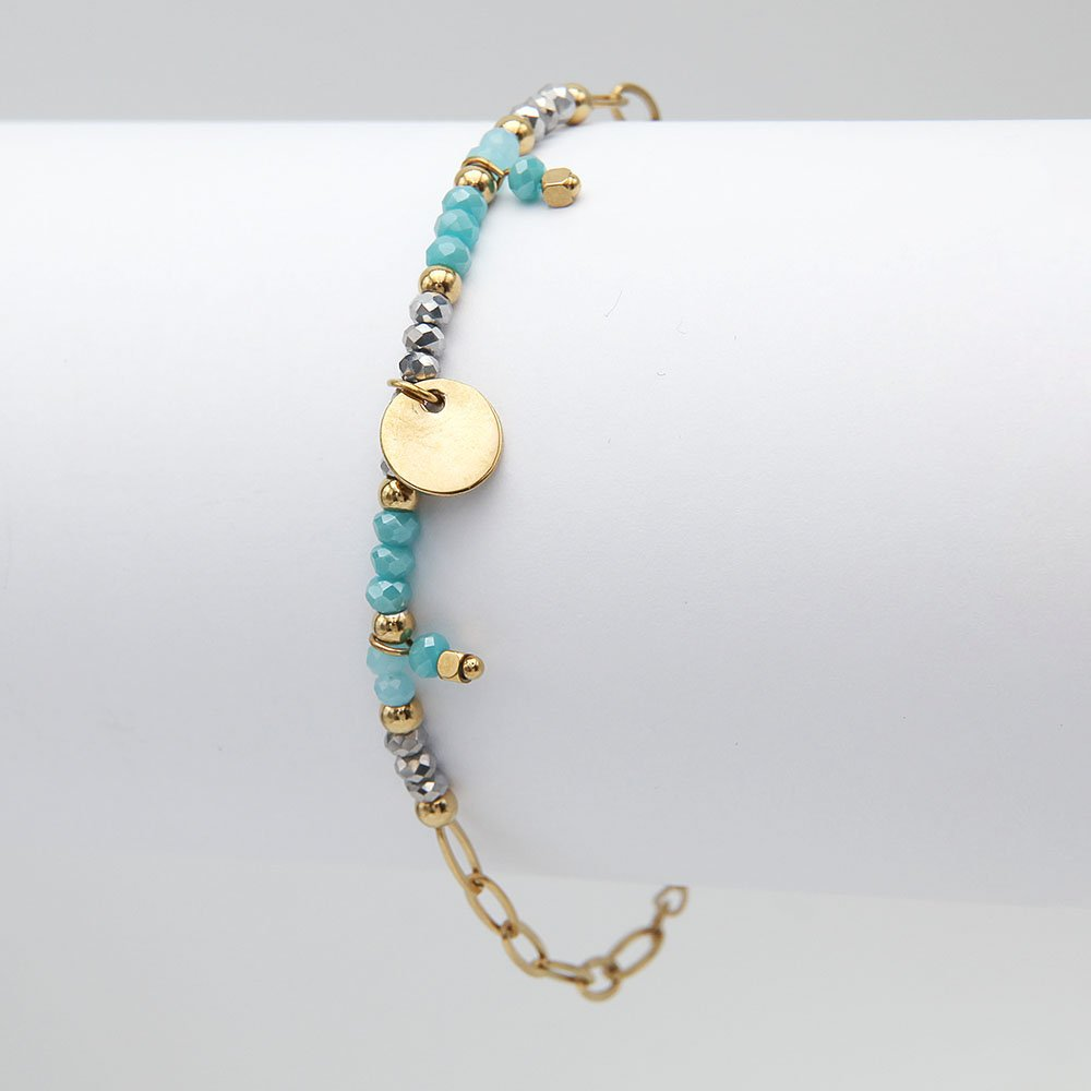 Stainless steel chain bracelet with sky blue glass beads, gold finish, and an adjustable ring clasp. - Ozz Silver Jewelry
