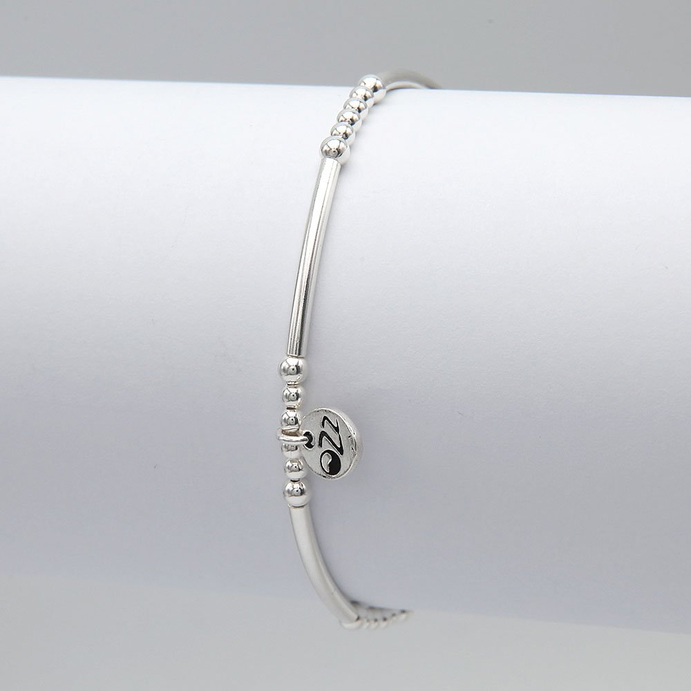 Handmade bracelet with real silver beading, adorned with 5 cylinders beads and OZZ authentic charm. - Ozz Silver Jewelry