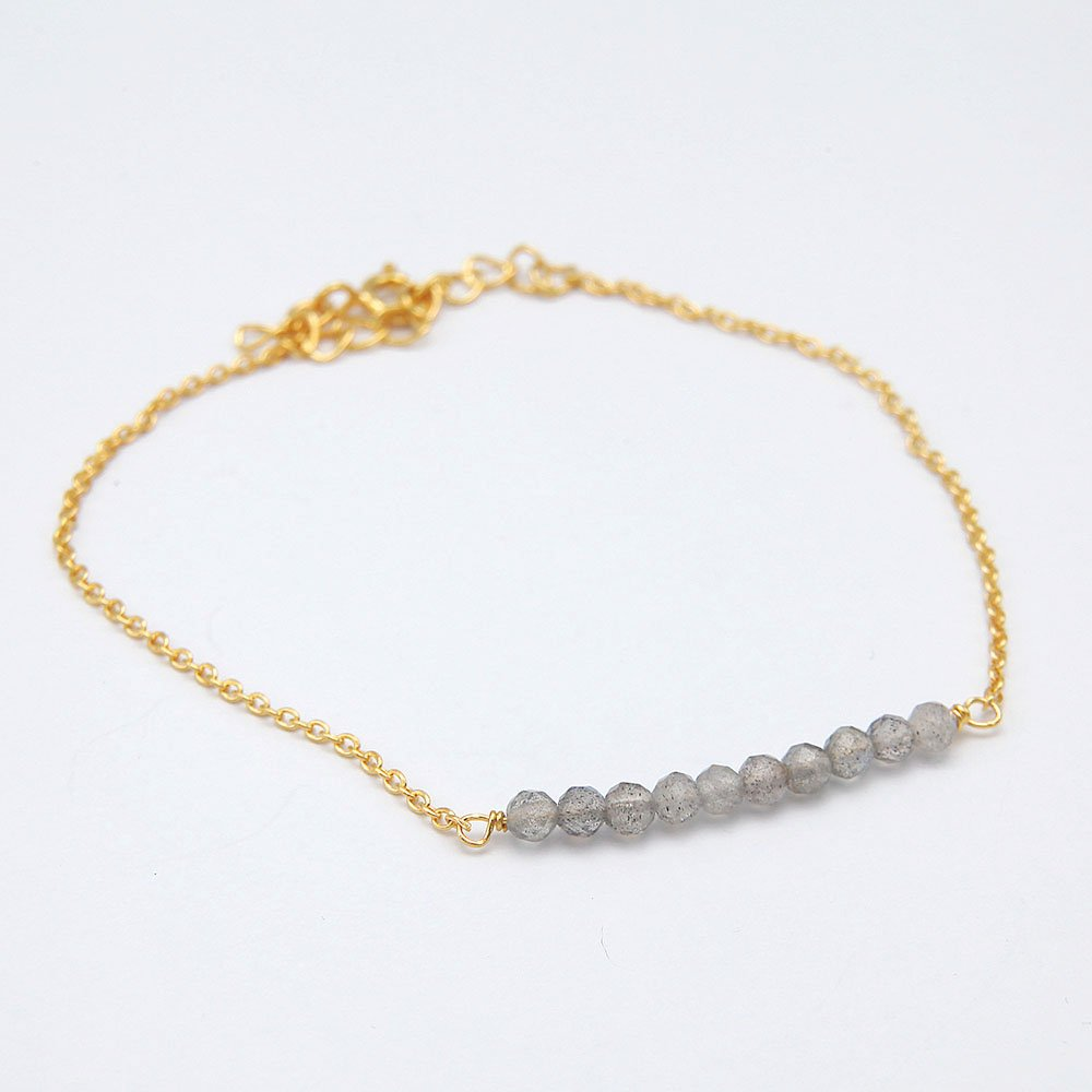 Gold plated silver chain bracelet with Labradorite gemstone beads and adjustable ring clasp. - Ozz Silver Jewelry