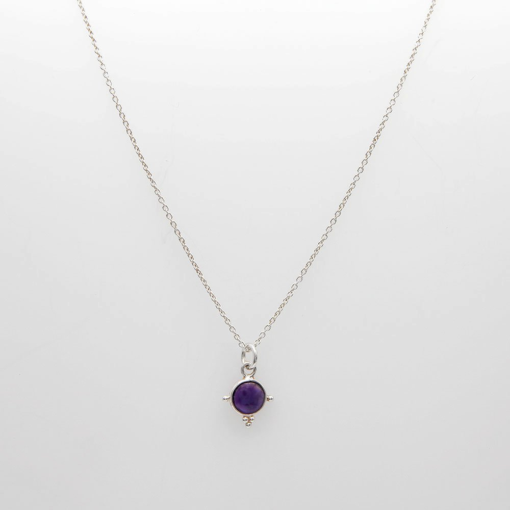 Sterling silver necklace with a 5mm purple Amethyst gemstone, detailed with silver dots. - Ozz Silver Jewelry