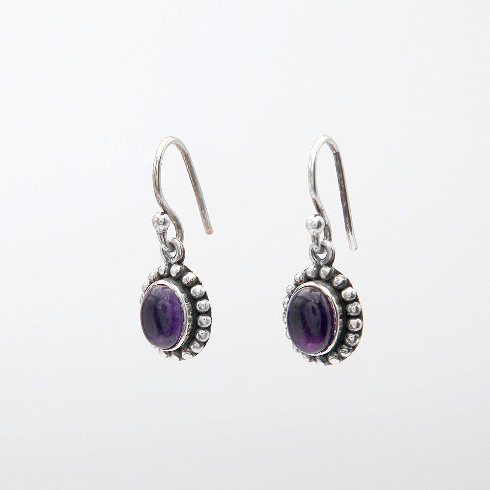 A pair of purple Amethyst gemstone hook earrings with beautiful silver detailing. - Ozz Silver Jewelry