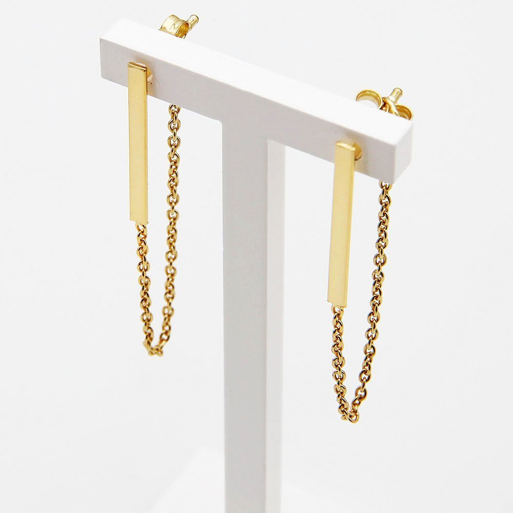 Pair of gold plated silver earrings with a geometric bar detail and hanging chain butterfly backing. - Ozz Silver Jewelry
