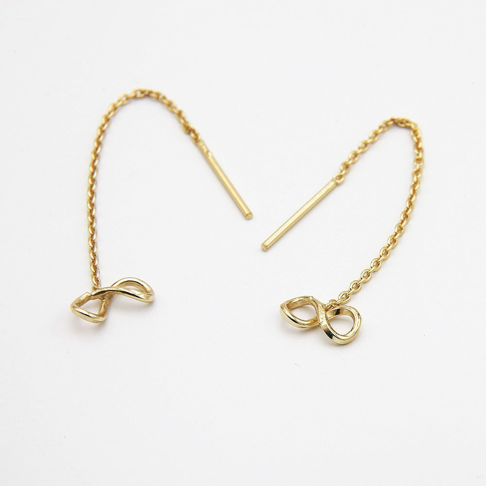 A pair of gold plated silver pull through earrings. - Ozz Silver Jewelry