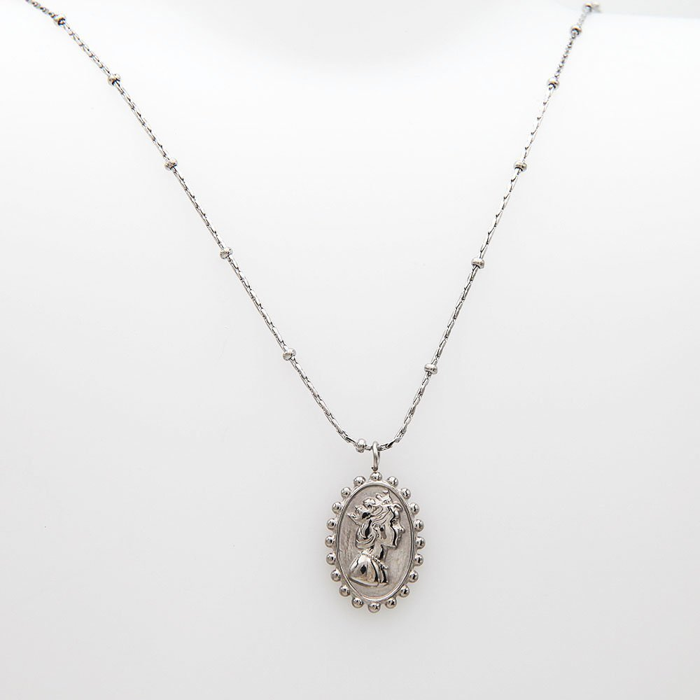 Stainless steel necklace by Go Dutch Label. This necklace features a pendant and an adjustable ring clasp. - Ozz Silver Jewelry