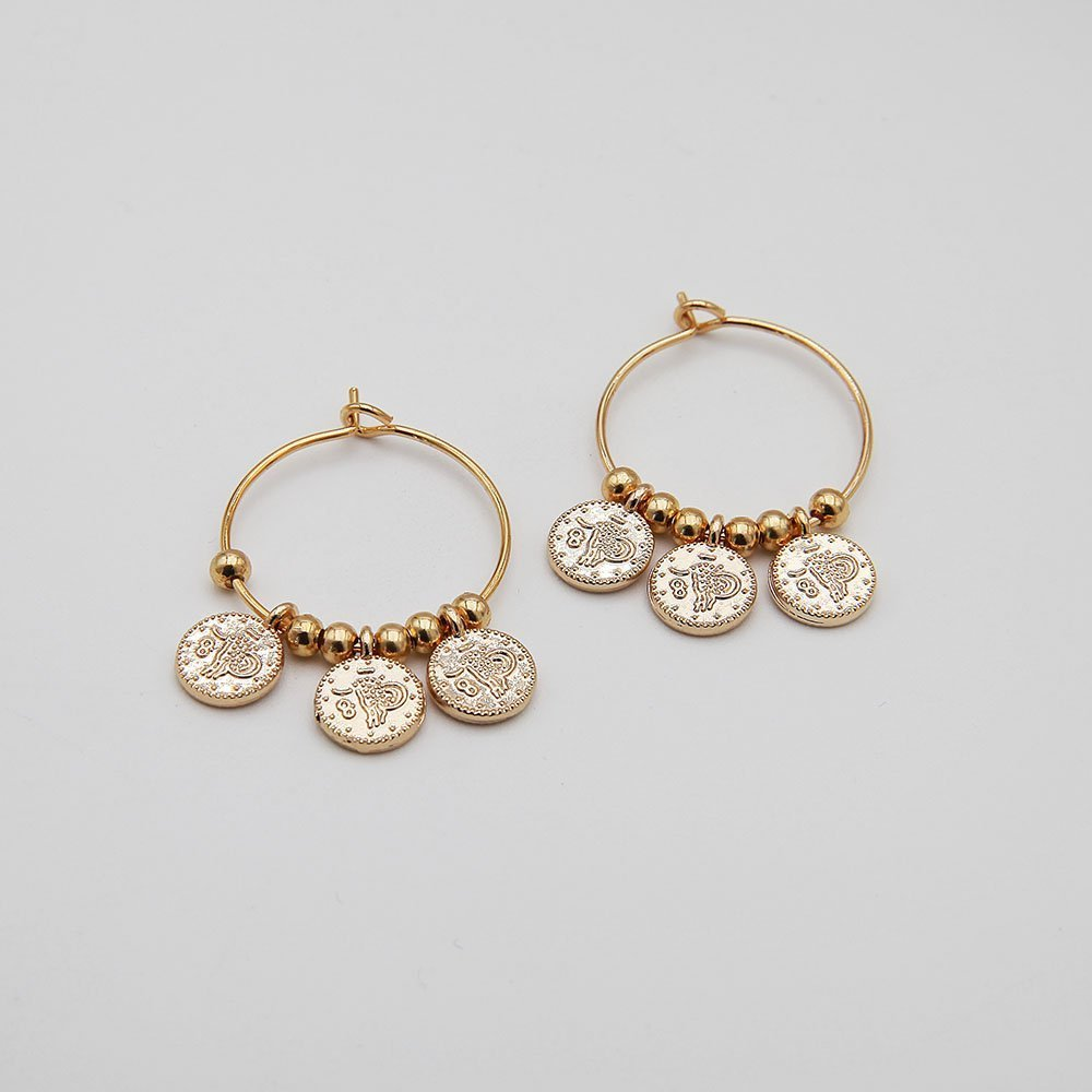 A pair of delicate stainless steel hoop earrings, featuring lovely hanging token coin details. Stainless steel is a highly durable material, so this piece won't show signs of wear, won't lose its color, and is generally waterproof. - Ozz Silver Jewelry